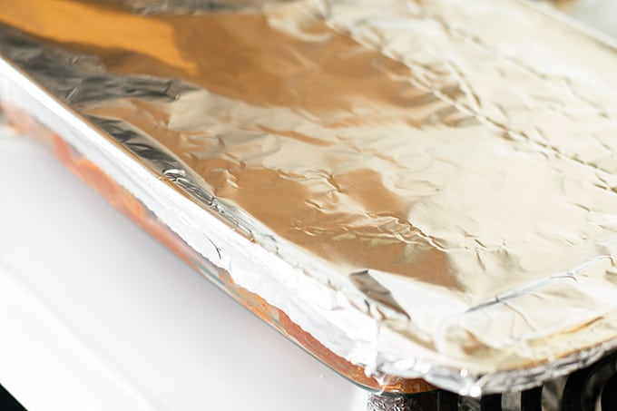 baking dish covered with aluminum foil