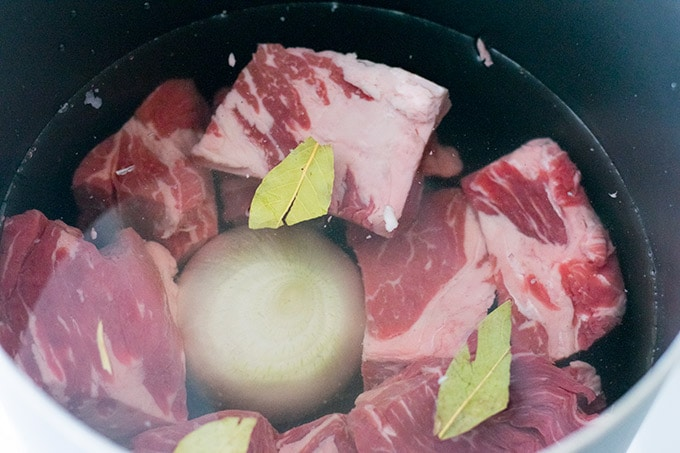 chuck roast in a pot