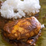 mixiote de pollo in a banana leaf