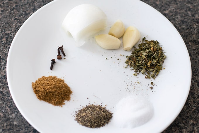 spices on a white plate