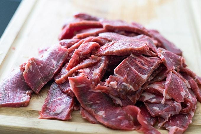 sliced ribeye before cooking
