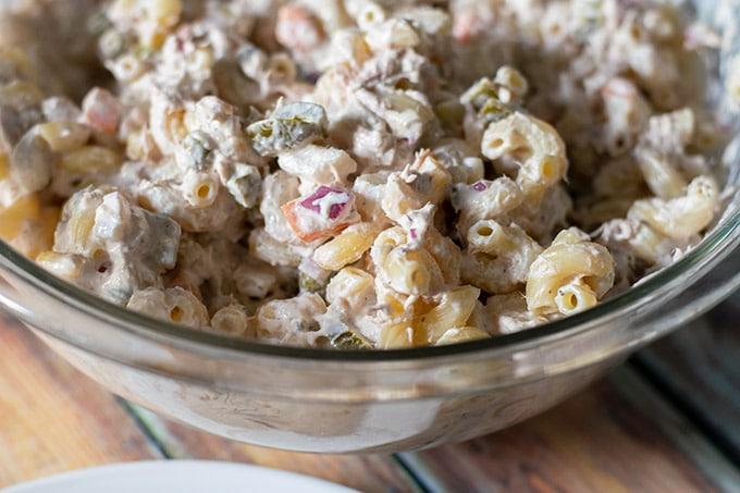 tuna macaroni salad in a bowl