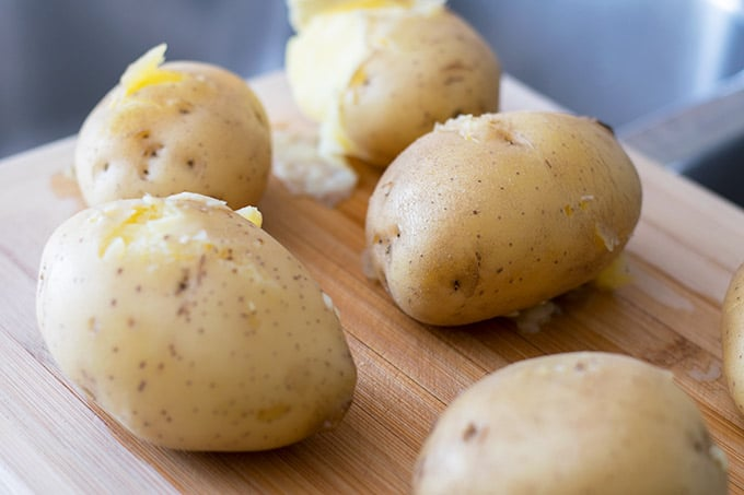boiled potatoes with skin on