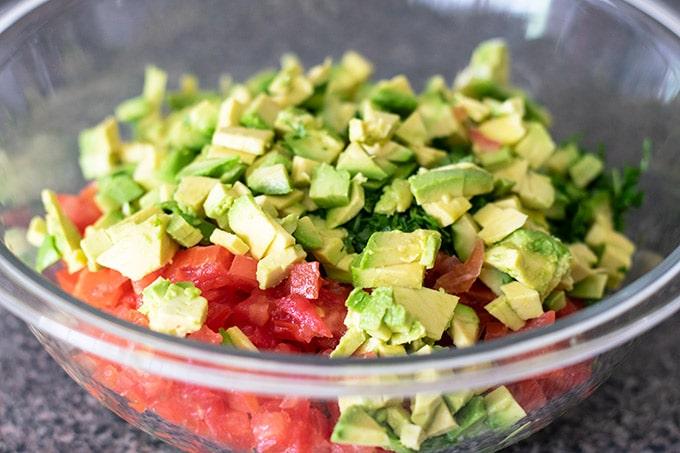 chopped ingredients for tostadas de jaiba in a bowl