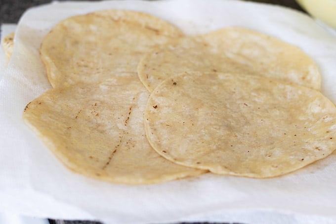 draining corn tortillas
