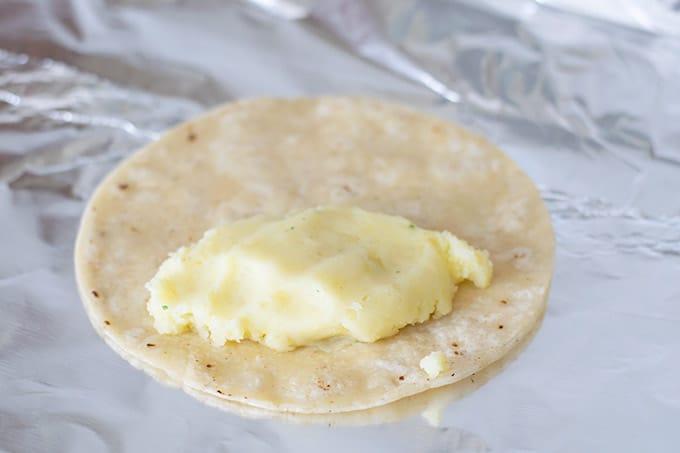 potato filling on a tortilla