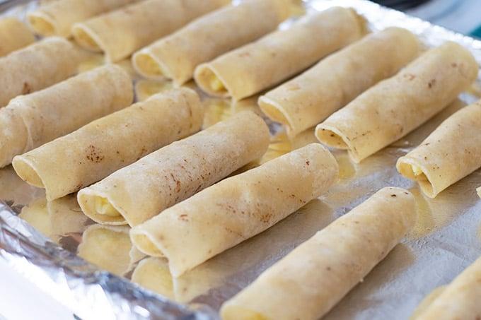potato taquitos before baking
