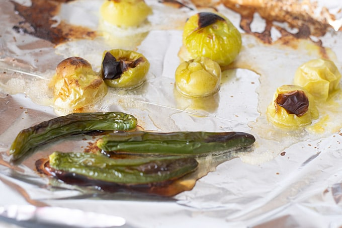 roasted tomatillos and serrano peppers