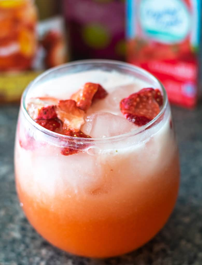 homemade pink drink in a glass
