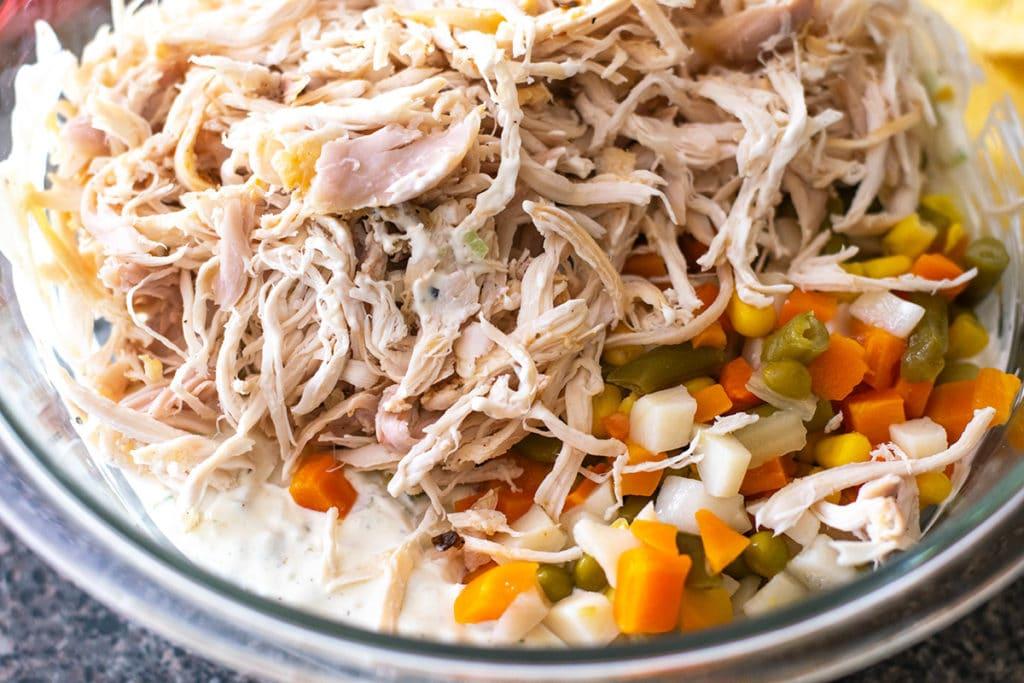 preparing chicken salad