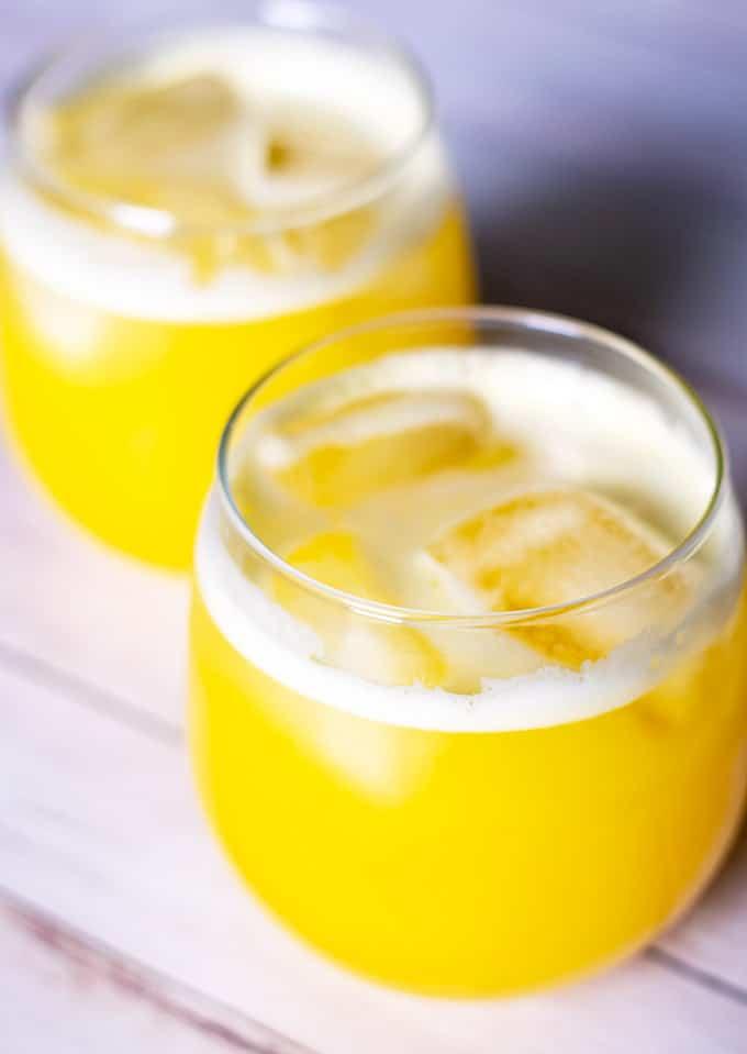 pineapple agua fresca in two glasses