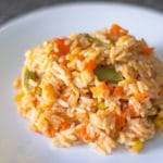 Mexican red rice with veggies on a plate