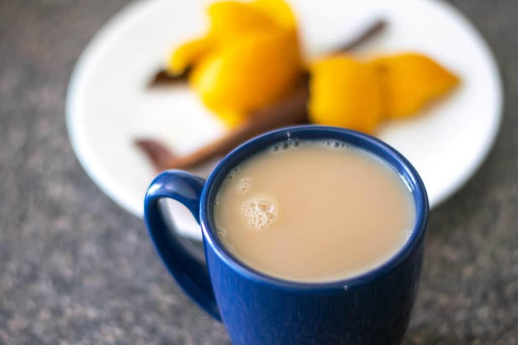tea in a blue mug
