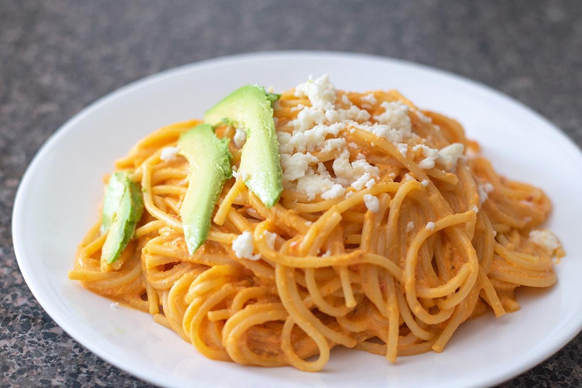 Mexican spaghetti on a white plate