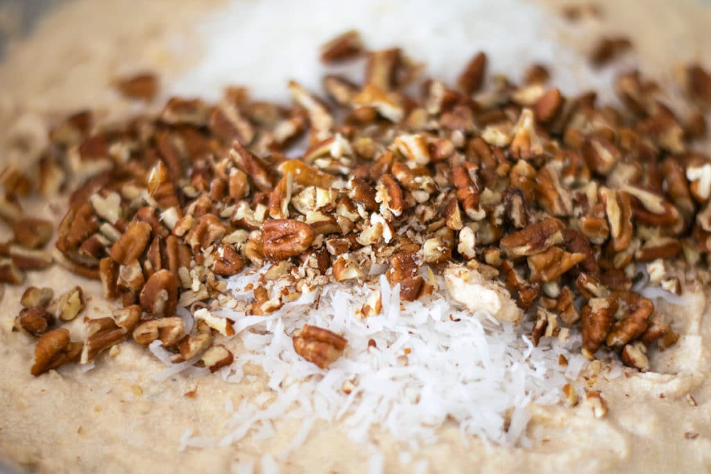 masa dough with pecans and shredded coconut